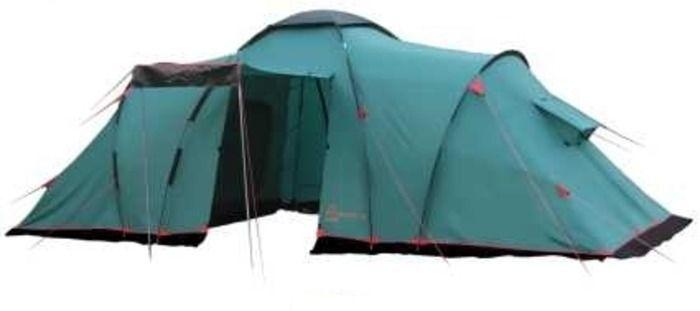Палатка кемпинговая Tramp Brest +9, цвет: зеленыйАМNB-503Двухслойная палатка Tramp Brest +9 с одним входом и большим тамбуром отлично подойдет для кемпинга. Внешний тент палатки устойчив к ультрафиолетовому излучению и имеет пропитку, задерживающую распространение огня. Входы всех трех спальных отделений продублированы москитной сеткой. Во внешнем тенте вход в тамбур также продублирован москитной сеткой. Тент палатки оборудован юбкой. Имеет три спальных отделения и столько же больших вентиляционных окон. Все швы проклеены. Съемный пол выполнен из терпаулинга. Палатки этой серии рассчитаны на семейный отдых, отдых большой компанией.Размер спального места: 220 х 180 см.Размер тамбура: 215 х 210 см.