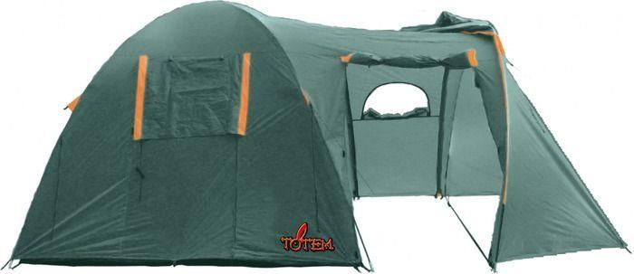 Палатка кемпинговая Тотеm Catawba 4, цвет: зеленый. TTT-006,09TTT-006.09Размер: 230 х 440 см Количество мест: 4 Тент: 100% полиэстер 75D/190T WR PU 1500 мм в ст Внутренняя палатка: 100% дышащий полиэстер 68D/68D 190T Каркас: фибергласс 11 мм Дно: армированный полиэтилен (терпаулинг) Количество входов: 2 Полный вес: 7,2 кг Количество тамбуров: 1 Размер спального места: 240 х 220 см Размер тамбура: 190 см Высота: 190 см Высота тамбура: 170 см - Двухслойная кемпинговая палатка с двумя входами и большим тамбуром - Вход спального отделения продублирован москитной сеткой - Большое спальное отделение - Два больших вентиляционных окна - Все швы проклеены