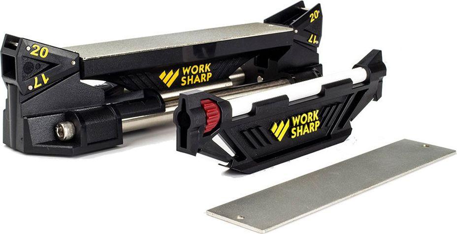 Система точильная Work Sharp Darex Guided Sharpening, с изменяющимся углом наклонаDR/WSGSS-BXСтанина, состоящая из пластиковых торцов и двух массивных стальных направляющих. Станина стоит на четырех ножках из прозрачного резинопластика, что исключает возможность скольжения даже на самой гладкой поверхности Платформа для металлических пластин с алмазным напылением Платформа с встроенным керамическим стержнем. Две металлические пластины с алмазным напылением, Coarse 320 grit и Fine 600 grit (15.2 x 31 mm). Пластина с абразивом крепится к платформе при помощи магнита и двух шпеньков обеспечивающих жесткость посадки Две двусторонних направляющих под два угла заточки, на 20 градусов (для EDC ножей) и 17 градусов (для кухонников)