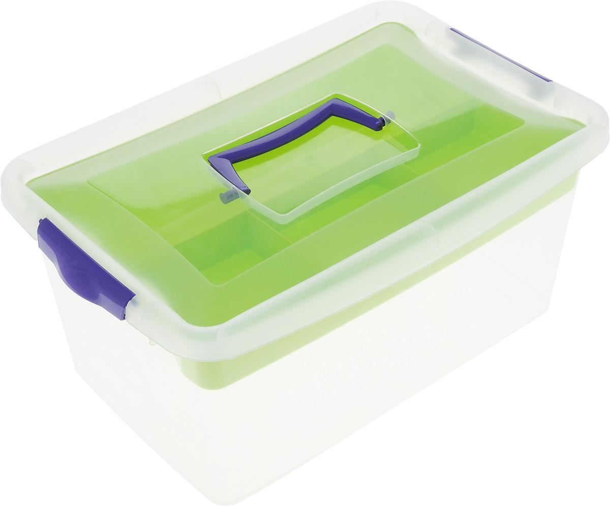 """Idea (М-пластика) Контейнер для хранения """"Idea"""", с вкладышем, цвет: прозрачный, салатовый, фиолетовый, 9 л М 2874_салатовый"""