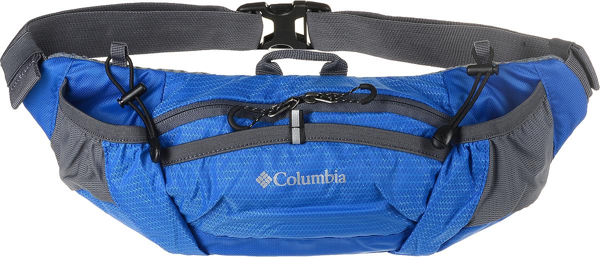 Сумка на пояс Columbia Outdoor Adventure Lumbar Bag, цвет: синий. 1724711-4381724711-438Поясная сумка Columbia прекрасно дополнит как городской образ, так и станет незаменимой вещью для путешественника. Множество отделений на молнии! Сумка выполнена из прочной полиэстеровой ткани. Технология Omni-Shield предотвращает впитывание, а ткань впитывание любых жидкостей температурой ниже 77 градусов, отталкивая их с поверхности. Ткань с покрытием Omni-Shield сохнет в 5 раз быстрее, т.к. она не впитывает влагу.