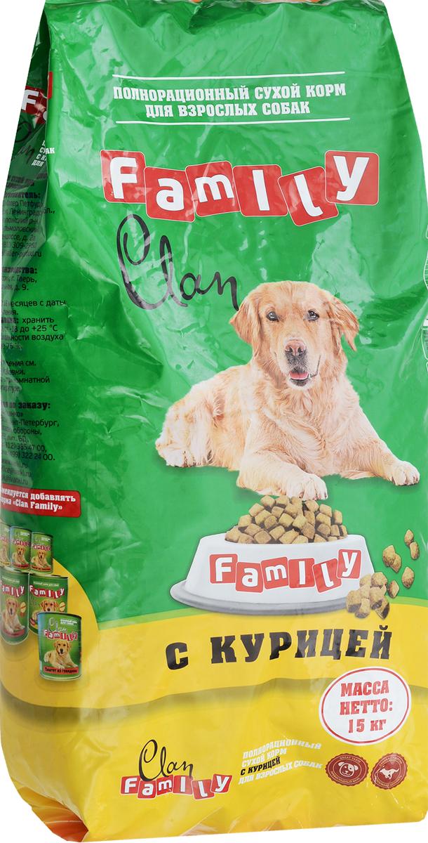 Корм сухой для собак Clan Family, курица, 15 кг,0120710Злаки и продукты растительного происхождения, мясные субпродукты, животные жиры и растительные масла, кормовые добавки, минеральные вещества и витамины, антиоксиданты (Е320, Е321), консервант.