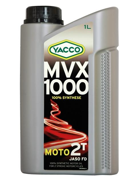 Масло моторное Yacco MVX 1000 2T, 1 л2706 (ПО)MVX 1000 2T100% синтетическое масло для 2-тактных двигателейПРИМЕНЕНИЕ100% синтетический высокотехнологичный смазочный материал для мотоциклов с высокомощными 2-тактными двигателями для соревнований по дорогам или бездорожью.Также рекомендуется для 2-тактных двигателей с каталитическим нейтрализатором или с непосредственным впрыском топлива. Используется на мотоциклах, квадроциклах, картах.Применяется для отдельной смазки или для использования в смесях.Концентрация при смешивании: в зависимости от рекомендаций производителя (как правило, от 1% до 3%. До 6% для применения на картах 100 см3).ПРЕИМУЩЕСТВА• Синтетические эфирные основы масла обеспечивают отличную стойкость в высокотемпературных режимах для предотвращения рисков заклинивания• Отличные противодымные свойства• Предварительно разбавленный смазочный материал обеспечивает быструю и очень стабильную смешиваемость в топливе• Низкая зольность предотвращает образование отложений в камере сгорания• Снижает образование отложений в системе выпускаСПЕЦИФИКАЦИИ И ОДОБРЕНИЯMVX 1000 2T официально одобрено: JASO FDMVX 1000 2T соответствует требованиям спецификаций: API TC; ISO-L-EGD