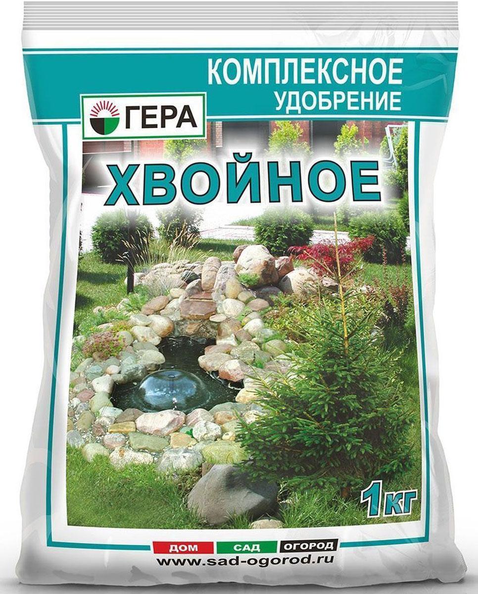 Удобрение Гера Хвойное, 1 кг2005Гера Хвойное – смешанное удобрение для основного внесения и подкормки вечнозеленых хвойных деревьев и кустарников, таких как можжевельник, туя, кедр, ель, сосна, тис, лиственница, кипарисовик, пихта и других вечнозеленых декоративных культур. Содержит полный сбалансированный набор элементов питания, необходимых для нормального роста и развития растений. Улучшает декоративные свойства. Способствует завязыванию и созреванию шишек и плодов. Повышает устойчивость растений к неблагоприятным воздействиям окружающей среды, болезням и вредителям.