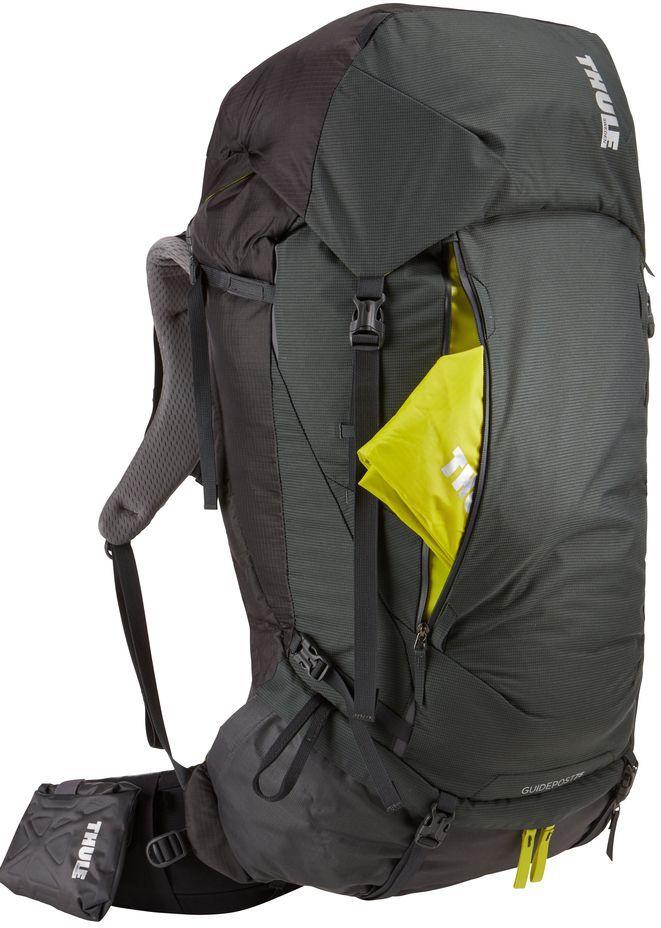 Рюкзак туристический мужской Thule Guidepost, цвет: темно-серый, 75 лa026124Удобный рюкзак для длительных путешествий Thule Guidepost с объемом 75 л отличается настраиваемой системой крепления TransHub, обеспечивающей идеальную посадку, поворачивающимся набедренным ремнем, который позволяет рюкзаку повторять ваши движения, и крышкой, способной трансформироваться в дополнительный рюкзак, который поможет вам покорить любую вершину.Лямки с шагом 15 см легко регулируются для идеальной посадки рюкзака, а наплечные ремни QuickFit имеют три варианта длины.Система крепления Transhub и усиленный поясной ремень помогают максимально перенести вес рюкзака на бедра, обеспечивая более удобную посадку.За счет поворотного поясного ремня рюкзак повторяет ваши движения, обеспечивая более естественную ходьбу.Съемный верхний клапан трансформируется в отдельный просторный рюкзак объемом 28 л.Съемный всепогодный сворачивающийся карман VersaClick защищает снаряжение от непогоды.Регулируемый поясной ремень совместим со взаимозаменяемыми аксессуарами VersaClick (продаются отдельно).Яркий съемный дождевой чехол поможет сохранить вещи сухими во время проливного дождя.Разместив внешний аккумулятор в отделении PowerPocket, можно на ходу заряжать мобильное устройство в кармане поясного ремня.Удобный доступ к содержимому рюкзака благодаря большой J-образной застежке на молнии на боковой панели.Дышащая задняя панель способствует лучшей циркуляции воздуха, а мягкая опора обеспечивает поддержку в главных точках соприкосновения.