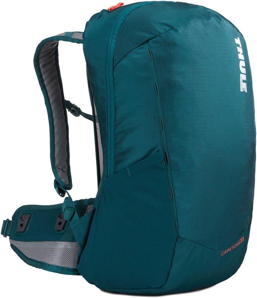 Рюкзак туристический женский Thule Capstone, цвет: темно-бирюзовый, 22 л. Размер XS/Sa026124Женский рюкзак Thule Capstone идеально подходит для однодневных путешествий или коротких походов. Рюкзак снабжен яркой накидкой от дождя и системой крепления MicroAdjust, которая обеспечивает максимальную регулировку для идеальной посадки. Сзади расположена натягиваемая сеточная панель для максимальной воздухопроницаемости. Рюкзак оснащен 1 вместительным отделением на застежке-молнии. Спереди имеется 2 кармана, один из которых на застежке-молнии. По бокам расположено 2 эластичных кармана. На набедренном ремне имеется 2 небольших кармана.