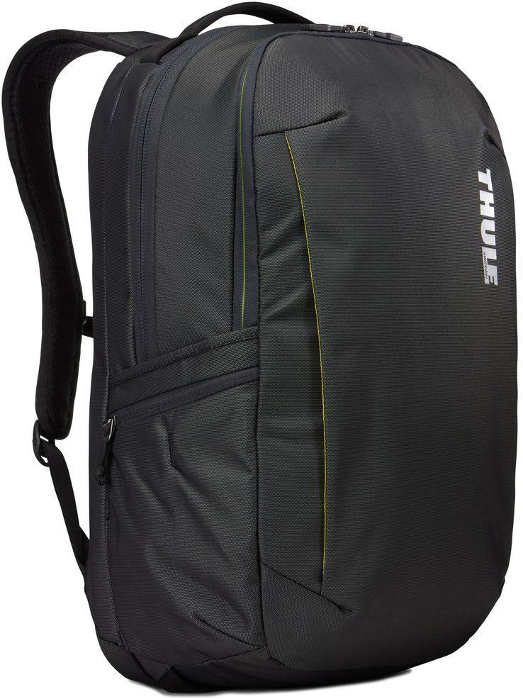 Рюкзак городской Thule Subterra Backpack, цвет: темно-серый, 30 лH009Вместительный и прочный дорожный рюкзак с функцией защиты электроники и отделением PowerPocket для упорядоченного хранения шнуров и зарядных устройств.Отделение с мягкой подкладкой и конструкцией SafeEdge для ноутбука (MacBook Pro с диагональю экрана 15 дюймов или ПК с диагональю экрана 15,6 дюйма).Специальный защитный карман с мягкой подкладкой для планшета.От внешнего аккумулятора во внутреннем отделении PowerPocket удобно заряжать различные устройства.Доступ к ноутбуку из верхнего отделения или через боковую молнию.Перфорированные наплечные ремни EVA с сетчатым покрытием и мягкой задней подушкой, пропускающие воздух, обеспечивают комфорт.Съемный регулируемый нагрудный ремень фиксирует наплечные ремни рюкзака и делает транспортировку более комфортной.Специальная панель для надежного крепления к дорожным сумкам на колесах помогает путешествовать с удобством.Внутренний карман с мягкой подкладкой для ценных вещей, например очков или телефона.Удобные отделения-органайзеры упрощают размещение мелких предметов.В растягивающемся боковом кармане на молнии безопасно хранятся небольшие предметы и помещается бутылка воды.