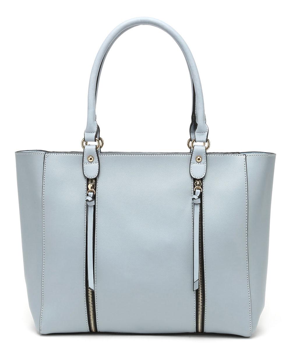 Сумка женская DDA, цвет: голубой, 2 шт. BS-3003BS-3003 BlueЖенская сумка DDA выполнена из качественной искусственной кожи. В комплекте 2 сумочки: большая с двумя русками и маленькая с наплечным ремнем. Большая сумка имеет одно вместительное отделение и застегивается на молнию. Лицевая часть оформлена двумя декоративными молниями. Сумка не содержит дополнительных карманов. Маленькая сумочка имеет съемный плечевой ремень, содержит одно отделение и застегивается на молнию. Внутри отделения расположены два открытых накладных кармана и один врезной. Сумочка легко помещается в большую.
