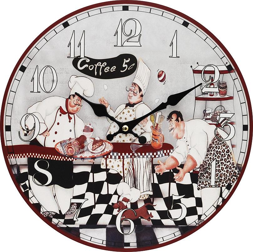 Часы настенные Белоснежка Время пить кофе, диаметр 34 см111-CLЦиферблат: открытый, выполнен из листа оргалита с декоративным покрытием. Стрелки металлические – часовая и минутная. Часовой механизм закрыт пластиковым корпусом. Питание от одного элемента питания стандарта АА. Отверстие для крепления часов на стену. Диаметр 34 см.