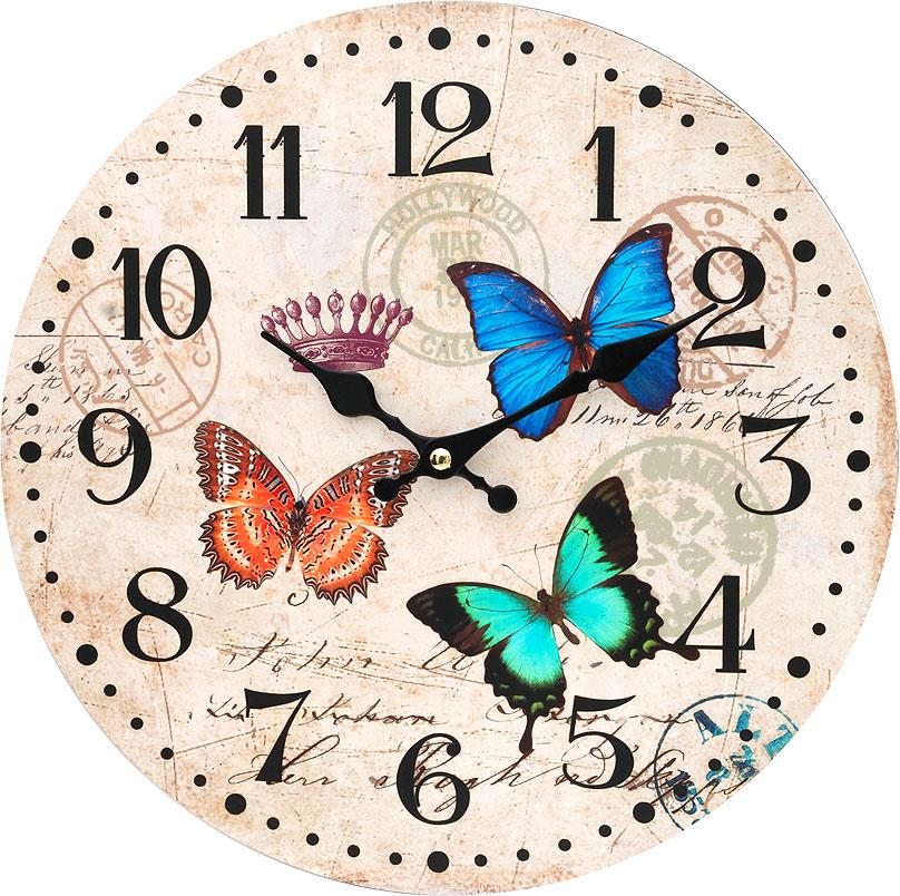 Часы настенные Белоснежка Разноцветные бабочки, диаметр 34 см116-CLЦиферблат: открытый, выполнен из листа оргалита с декоративным покрытием. Стрелки металлические – часовая и минутная. Часовой механизм закрыт пластиковым корпусом. Питание от одного элемента питания стандарта АА. Отверстие для крепления часов на стену. Диаметр 34 см.