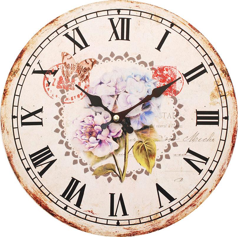 Часы настенные Белоснежка Садовые цветы, диаметр 34 см123-CLЦиферблат: открытый, выполнен из листа оргалита с декоративным покрытием. Стрелки металлические – часовая и минутная. Часовой механизм закрыт пластиковым корпусом. Питание от одного элемента питания стандарта АА. Отверстие для крепления часов на стену. Диаметр 34 см.