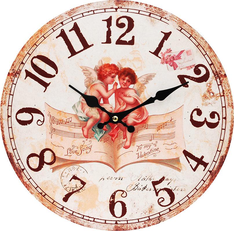 Часы настенные Белоснежка Музыка ангелов, диаметр 34 см127-CLЦиферблат: открытый, выполнен из листа оргалита с декоративным покрытием. Стрелки металлические – часовая и минутная. Часовой механизм закрыт пластиковым корпусом. Питание от одного элемента питания стандарта АА. Отверстие для крепления часов на стену. Диаметр 34 см.