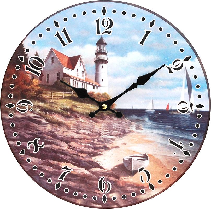 Часы настенные Белоснежка На берегу моря, диаметр 34 см129-CLЦиферблат: открытый, выполнен из листа оргалита с декоративным покрытием. Стрелки металлические – часовая и минутная. Часовой механизм закрыт пластиковым корпусом. Питание от одного элемента питания стандарта АА. Отверстие для крепления часов на стену. Диаметр 34 см.