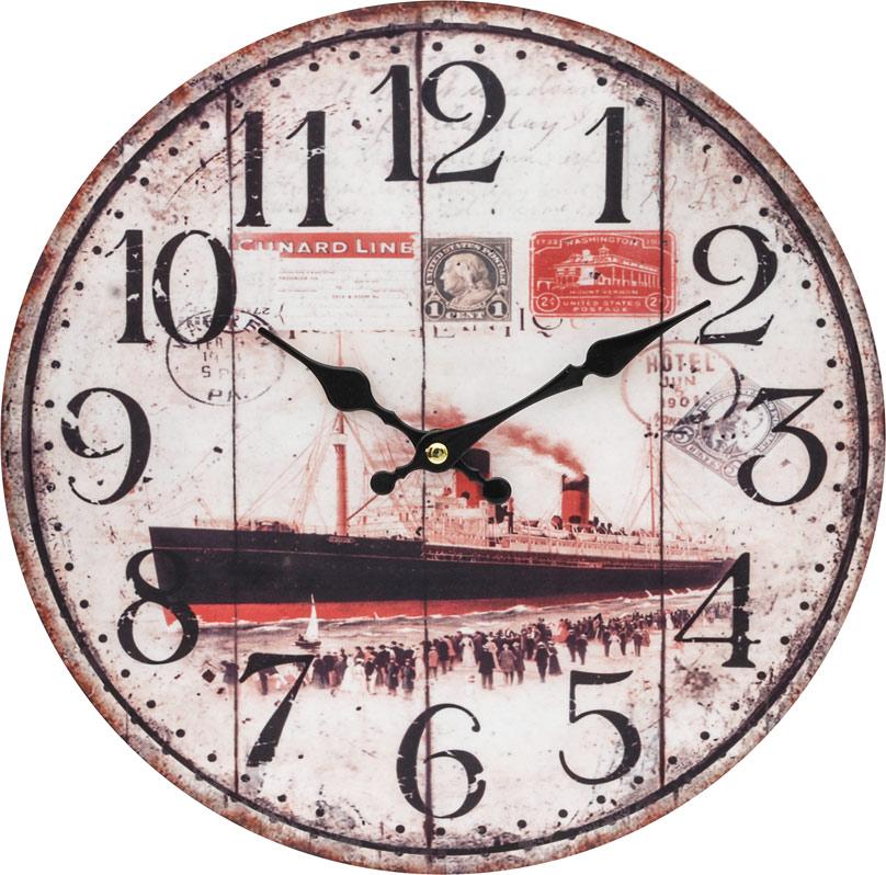 Часы настенные Белоснежка Пароход, диаметр 34 см131-CLЦиферблат: открытый, выполнен из листа оргалита с декоративным покрытием. Стрелки металлические – часовая и минутная. Часовой механизм закрыт пластиковым корпусом. Питание от одного элемента питания стандарта АА. Отверстие для крепления часов на стену. Диаметр 34 см.