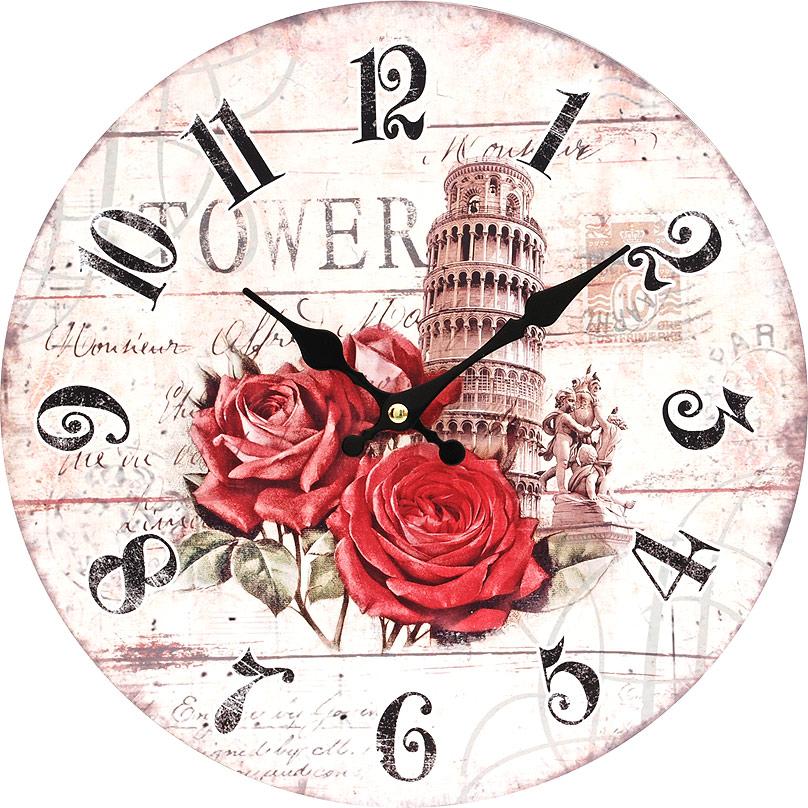 Часы настенные Белоснежка Пизанская башня, диаметр 34 см137-CLЦиферблат: открытый, выполнен из листа оргалита с декоративным покрытием. Стрелки металлические – часовая и минутная. Часовой механизм закрыт пластиковым корпусом. Питание от одного элемента питания стандарта АА. Отверстие для крепления часов на стену. Диаметр 34 см.