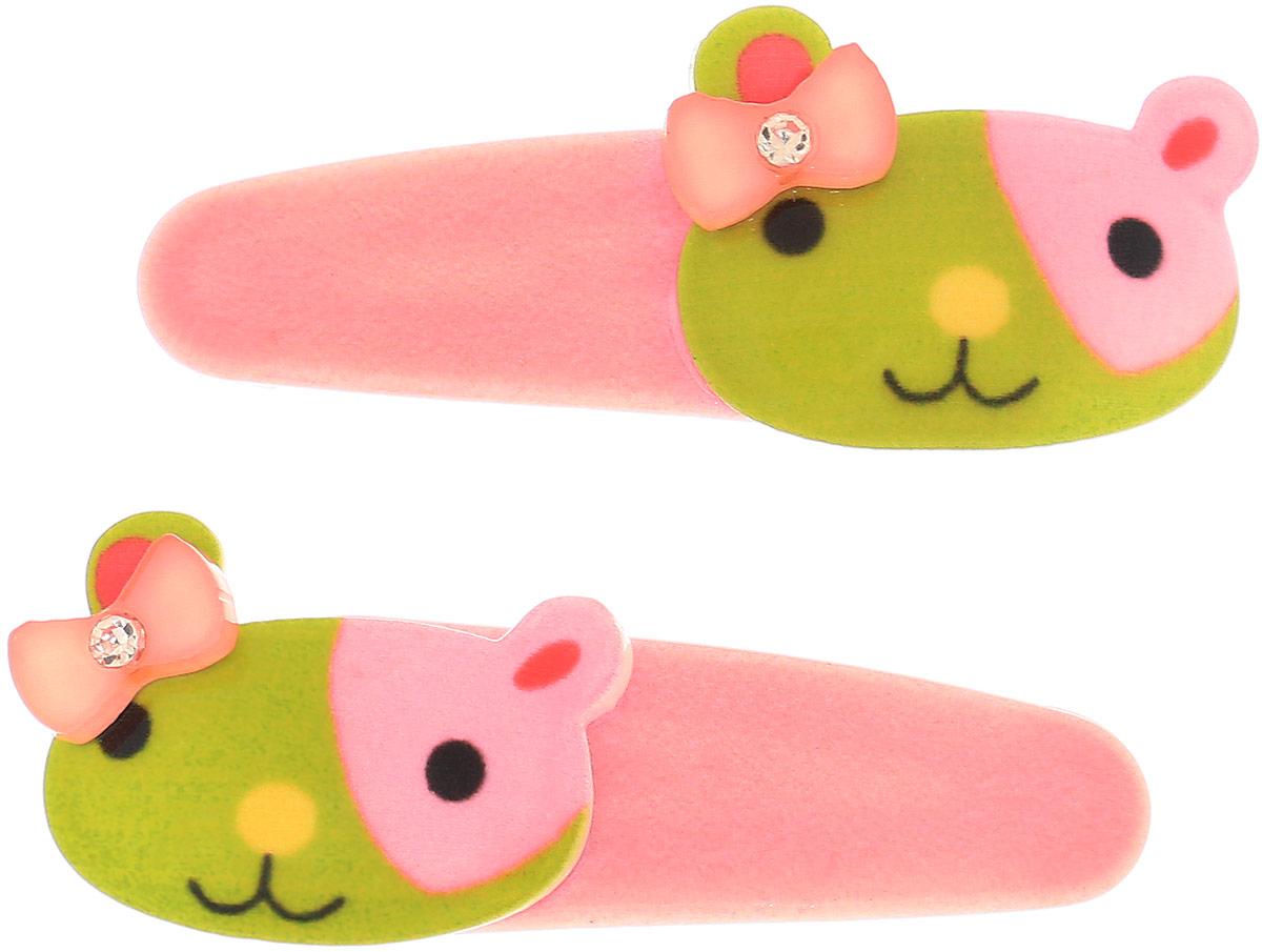 Baby's Joy Заколка для волос Кошка цвет розовый зеленый 2 шт