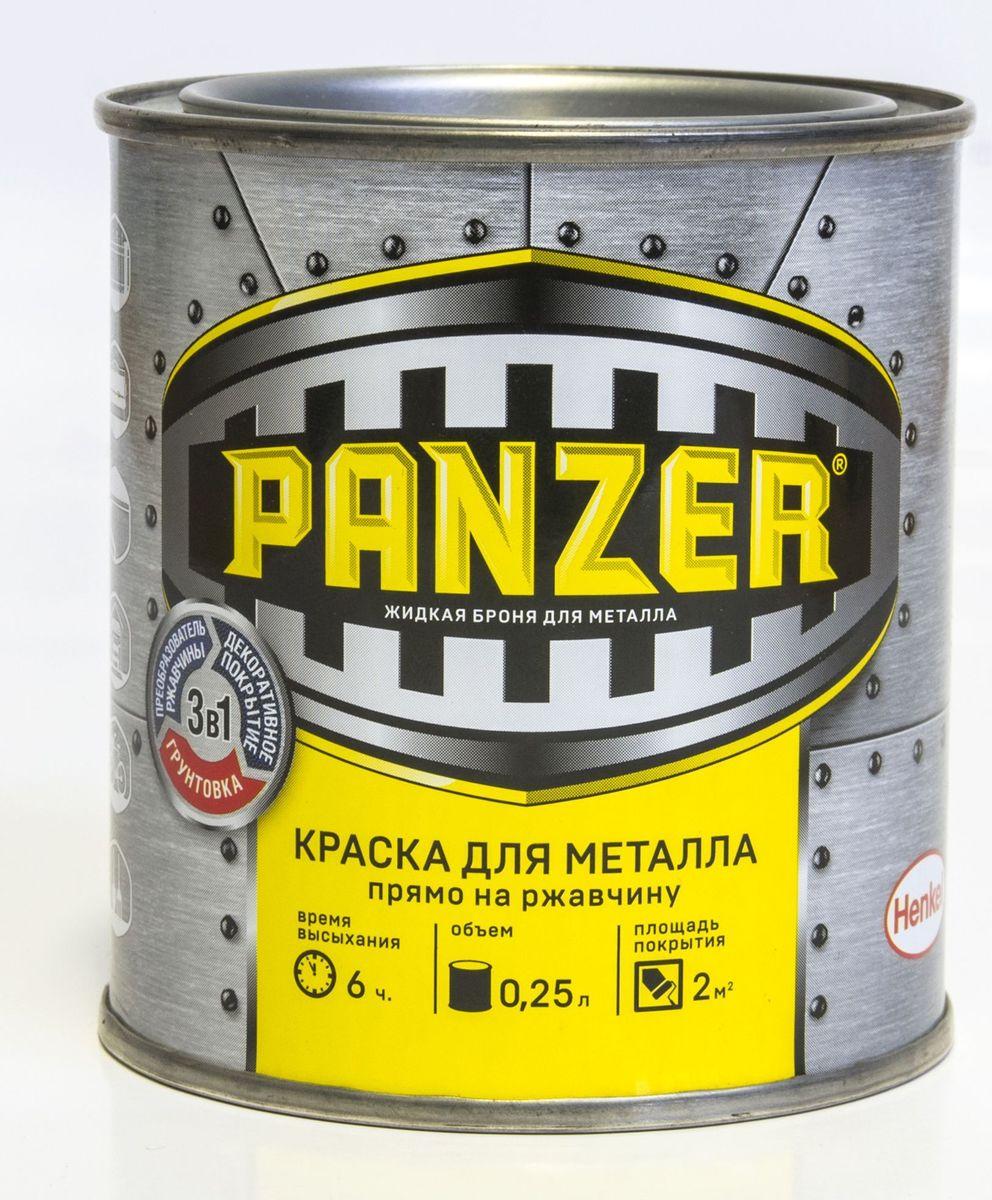 "Краска эмалевая гладкая для металла ""Panzer"", цвет: серебристый (9023), 0,25 л TBVPAG019022B"