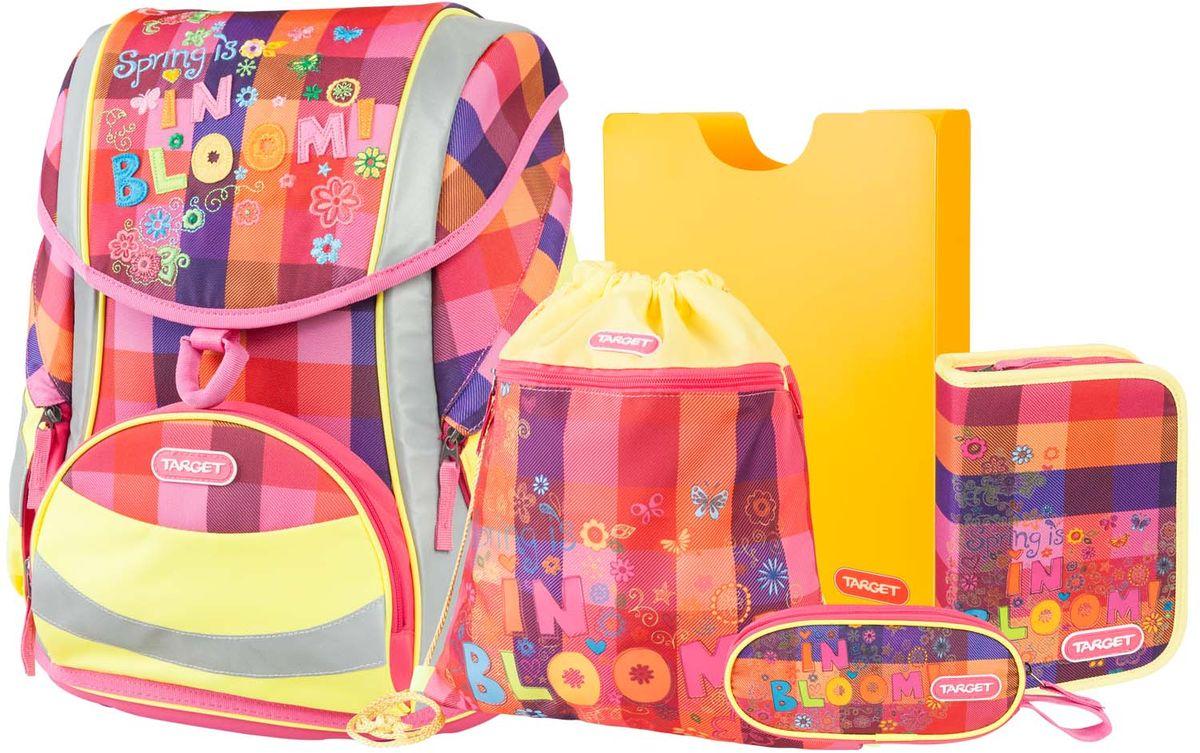 Target Collection Ранец школьный Цветание 5 в 1VS16-SB-001Ранец изготовлен из современных, прочных материалов. Техническими особенностями ранца является система Flexiball - поясничная поддержка, правильно распределяет вес ранца, автоматически подстраивается под ребенка, и поэтому обеспечивает идеальное положение в области поясницы ребёнка. Плечевые лямки можно регулировать для каждого ребенка индивидуально, содержат вентиляционные отверстия, оснащены ЭКО-пеной. Светоотражающий материал присутствует на передней, боковой и задней частях рюкзака, что позволяет сделать вашего ребенка более заметным, а так же обезопасить его не только днем, но и ночью. Молнии рюкзака прочные, металлические. В комплект данного набора входит сам ранец, сумка для сменной обуви, пенал овальный, пенал с канцтоварами (В комплекте: Точилка для карандашей, Ластик, Простой карандаш, 6 больших цветных карандаша,12 карандашей цветных), папка-держатель из ЭКО-пластика формата А4. При создании данной модели используются улучшенные материалы (3D), которые имеют свойство «дышать». Благодаря этим материалам воздух циркулирует, и следовательно, спина ребёнка не будет потеть. Дополнительно, имеется грудное крепление-стяжка для фиксации на плечах и поясничное крепление для фиксации на поясе ребенка, они установлены так, чтобы порфель самыми оптимальным образом сидел на на теле ребенка. Правильно используя ремни, вес портфеля распределяется следующим образом: 50% на бедра и 50% на поясничную часть, что ощутимо позволяет уменьшить нагрузку и усилия при ходьбе. Мягкая ручка в верхней части позволяет сделать ношение в руке более удобным и комфортным. Дно портфеля изготовлено из качественного и прочного материала. Внутри вложенные угловые элементы, чтобы не было прямого контакта с грунтом и таким образом, образуется защита от грязи. Порфель предназначен для детей ростом от 110 см: размер M - для детей ростом между 110 и 125 см;размер L подходит для детей ростом между 125 и 140 см;размер XL - для детей выше 140 