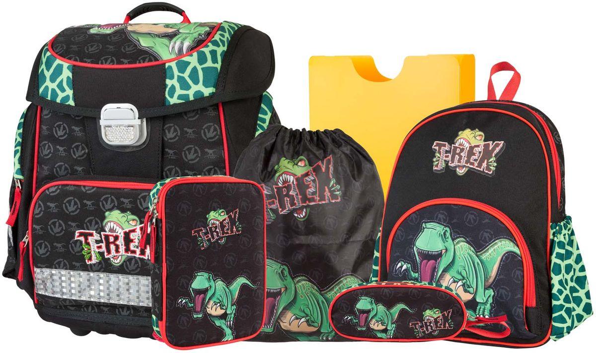 Target Collection Ранец школьный Динозавр Тирекс 6 в 1VS16-SB-001Ранец изготовлен из современных, прочных материалов. Техническими особенностями ранца является система Flexiball - поясничная поддержка, правильно распределяет вес ранца, автоматически подстраивается под ребенка, и поэтому обеспечивает идеальное положение в области поясницы ребёнка. Плечевые лямки можно регулировать для каждого ребенка индивидуально,содержат вентиляционные отверстия, оснащеныЭКО-пеной. Светоотражающий материал присутствует на передней, боковой и задней частях рюкзака, что позволяет сделать вашего ребенка более заметным, а так же обезопасить его не только днем, но и ночью. Молнии рюкзака прочные, металлические. В комплект данного набора входит сам ранец,малый рюкзак, сумка для сменной обуви, пенал овальный, пенал с канцтоварами ( В наполнение пенала входит точилка, ластик, три шариковые ручки синего, черного и красного цвета, два графитовых простых карандаша, 12 цветных карандашей бренда FILA Италия, 12 фломастеров бренда FILA Италия, клей, ножрницы), папка-держатель из ЭКО-пластика формата А4.При создании данной моделииспользуются улучшенные материалы (3D), которые имеют свойство «дышать». Благодаря этим материалам воздух циркулирует, и следовательно, спинаребёнка не будет потеть. Дополнительно,имеется грудное крепление-стяжка для фиксации на плечах и поясничное крепление для фиксации на поясе ребенка, они установлены так, чтобы порфель самыми оптимальным образом сидел на на теле ребенка. Правильно используя ремни, вес портфеля распределяется следующим образом: 50% на бедра и 50% на поясничную часть, что ощутимо позволяет уменьшить нагрузку и усилия при ходьбе. Мягкая ручка в верхней части позволяет сделать ношение в руке более удобным и комфортным. Дно портфеля изготовлено из качественного и прочного материала. Внутривложенные угловые элементы,чтобы не было прямого контакта с грунтом и таким образом, образуется защита от грязи.Порфель предназначен для детей ростом от 110 см: