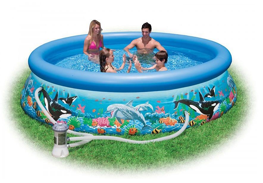 Надувной бассейн Intex Easy Set. Риф Океана, с фильтр-насосом 220 В, 366 х 76 см. с54906с54906Надувной бассейн Изи Сет риф океана с фильтр-насосом Intex (Интекс) выполнен в ярко-красочном дизайне и декорирован морскими обитателями - касатками и дельфинами. Детям и взрослым будет очень приятно поплавать в таком бассейне.