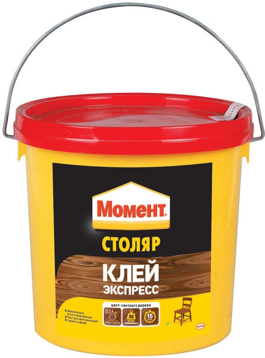 Клей Момент Столяр, 3 кг80653Клей Момент Столяр предназначен для всех пород дерева, ДСП, ДВП, МДФ, фанеры, шпона, облицовочных материалов. Рекомендуется к применению при изготовлении окон и дверей, мебели для кухни или ванной, для монтажного склеивания деревянных изделий и деталей, подверженных влиянию влажной среды. Обеспечивает надежный прозрачный клеевой шов.