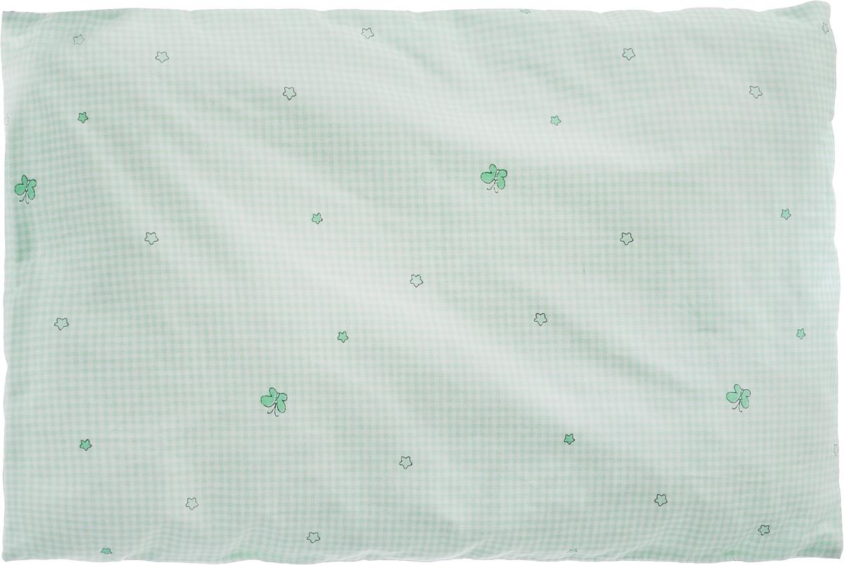 Сонный гномик Подушка в кроватку цвет светло-зеленый белый10503Мягкая тонкая подушка для детской кроватки Сонный гномик обеспечит крепкий и здоровый сон вашему малышу. Подушка имеет несъемный чехол из прочного безопасного хлопка. Хлопок - натуральный материал, обладающий высокой гигроскопичностью и воздухопроницаемостью, он будет безопасен даже для нежной кожи ребенка. Наполнитель подушки - синтепон в гранулах. Синтепон гипоаллергенен, долговечен, не скатывается и превосходно пропускает воздух.Подушка оформлена принтом в клетку и дополнена изображением звездочек.Удобная подушка из безопасных материалов идеально подойдет для детской кроватки, с ней дневной и ночной сон ребенка всегда будет крепким.