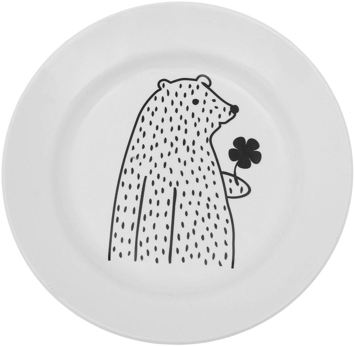 Тарелка мелкая Сотвори чудо Цветочный мишка, диаметр 20 см1661803Хотите обновить интерьер кухни или гостиной? Устраиваете необычную фотосессию или тематический праздник? А может, просто ищете подарок для близкого человека? Посуда « Сотвори Чудо» — правильный выбор в любой ситуации. Её достоинства: изящный фаянс нежного сливочного цвета; стойкость краски; пригодность для посудомоечных машин.