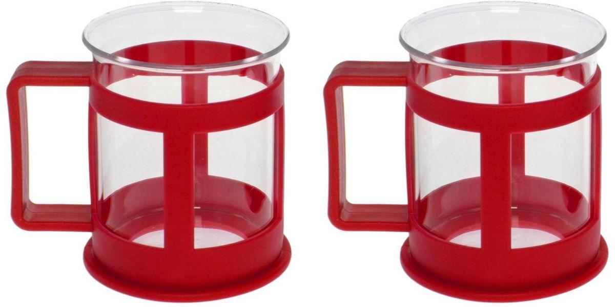 Набор кружек Доляна Классика, цвет: красный, 200 мл, 2 шт1075428Практичный набор кружек пригодится каждому человеку. Поставьте его на кухне, возьмите с собой на работу, в поход или путешествие: качественные изделия не подведут вас. Достоинства: удобный пластиковый подстаканник защищает стеклянный корпус; ручка не нагревается от горячих напитков; изделие легко мыть; необычный дизайн освежает интерьер. При необходимости стеклянная часть кружки может быть извлечена. Делайте свою жизнь комфортнее!