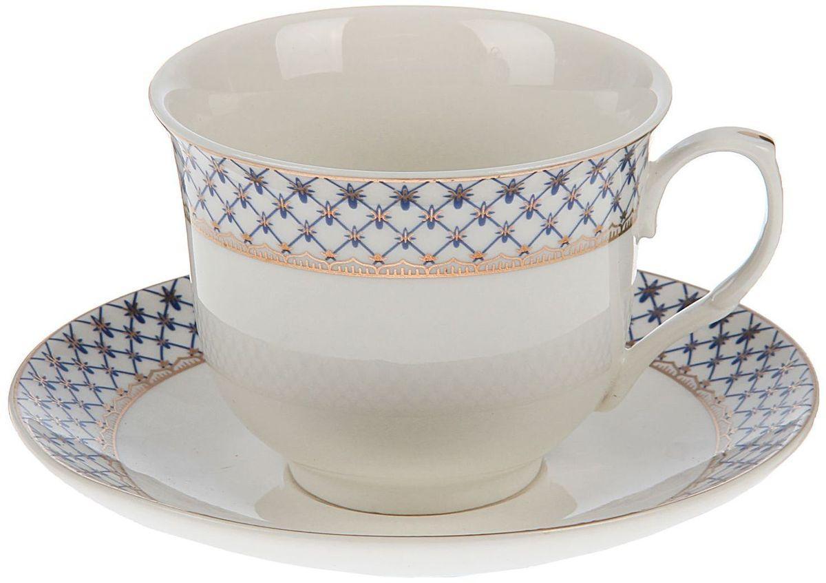 Набор чайный Доляна Рим, 2 предмета115510Какую посуду выбрать для чаепития? Конечно, традиционный напиток по необходимости можно пить и из помятой алюминиевой кружки. Но все-таки большинство хозяек стараются приобрести изящные и оригинальные модели для эстетического наслаждения неповторимым вкусом и тонким ароматом хорошего чая.Кухонная керамика сочетает в себе бытовую практичность и декоративную утонченность. Нарядный комплект обязательных для чаепития атрибутов изготовлен на родине древнего напитка и привнесет в каждую трапезу особую энергетику.