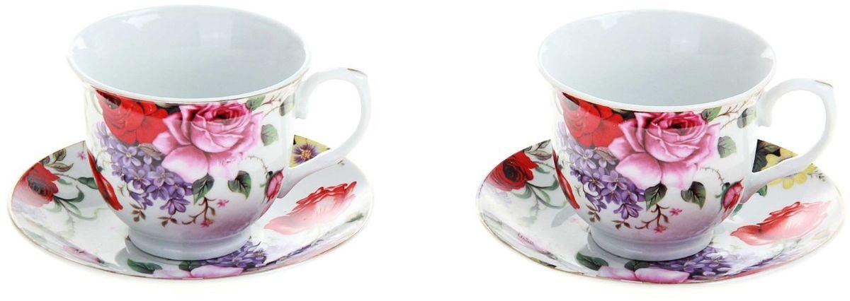 Набор чайный Доляна Страстная роза, 4 предмета115610Какую посуду выбрать для чаепития? Конечно, традиционный напиток по необходимости можно пить и из помятой алюминиевой кружки. Но все-таки большинство хозяек стараются приобрести изящные и оригинальные модели для эстетического наслаждения неповторимым вкусом и тонким ароматом хорошего чая.Кухонная керамика сочетает в себе бытовую практичность и декоративную утонченность. Нарядный комплект обязательных для чаепития атрибутов изготовлен на родине древнего напитка и привнесет в каждую трапезу особую энергетику.