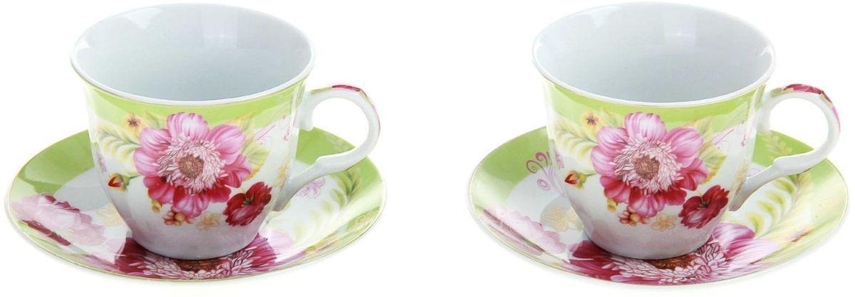 Набор чайный Доляна Апрельский бутон, 4 предмета240602Так сложилось, что большие сервизы мы достаём из шкафов главным образом по торжественным поводам, ведь использовать такую посуду каждый день непрактично. Однако стоит ли из-за этого лишать себя удовольствия пить чай из красивых чашек? Разумное решение — набор чайный Апрельский бутон, 4 предмета: 2 чашки 250 мл, 2 блюдца. Набор элегантной посуды на две персоны сделает каждое мини-чаепитие ничуть не менее радующим взор, чем большое застолье. Благодаря прочной керамике предметы прослужат долго, а отличное качество покрытия сбережёт поверхность от выцветания. В набор входят: чашка (250 мл) — 2 шт., блюдце — 2 шт. При всём изяществе керамическая посуда отличается неприхотливостью и не требует особых условий хранения. Она подходит для повседневного использования и мытья в посудомоечных машинах. Стоит придерживаться лишь нескольких простых правил: не допускать падения посуды с высоты; избегать использования при экстремально низких и высоких температурах; избегать прямого контакта с огнём....