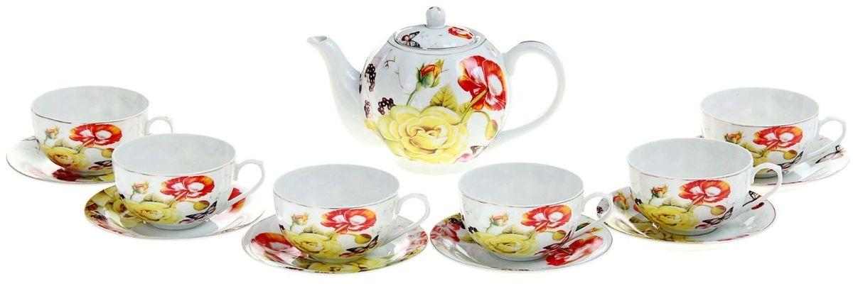 Набор чайный Доляна Майский сон, 13 предметов240618Какую посуду выбрать для чаепития? Конечно, традиционный напиток по необходимости можно пить и из помятой алюминиевой кружки. Но все-таки большинство хозяек стараются приобрести изящные и оригинальные модели для эстетического наслаждения неповторимым вкусом и тонким ароматом хорошего чая. Кухонная керамика сочетает в себе бытовую практичность и декоративную утонченность. Сервиз чайный Майский сон, 13 предметов: 6 чашек 250 мл, 6 блюдец, чайник 1 л отличается высокой прочностью и обаятельным дизайном. Нарядный комплект обязательных для чаепития атрибутов изготовлен на родине древнего напитка и привнесет в каждую трапезу особую энергетику. Сервизы на 6 персо