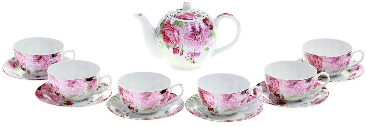 Набор чайный Доляна Вдохновение, 13 предметов240621Какую посуду выбрать для чаепития? Конечно, традиционный напиток по необходимости можно пить и из помятой алюминиевой кружки. Но все-таки большинство хозяек стараются приобрести изящные и оригинальные модели для эстетического наслаждения неповторимым вкусом и тонким ароматом хорошего чая. Кухонная керамика сочетает в себе бытовую практичность и декоративную утонченность. Сервиз чайный Вдохновение, 13 предметов: 6 чашек 250 мл, 6 блюдец, чайник 1 л отличается высокой прочностью и обаятельным дизайном. Нарядный комплект обязательных для чаепития атрибутов изготовлен на родине древнего напитка и привнесет в каждую трапезу особую энергетику.