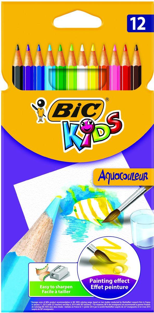 Bic Карандаши цветные Aquacouleur 12 цветов13089Набор из 12 акварельных карандашей. Яркие цвета, легкая затачиваемость и высокая устойчивость к поломке делают эти карандаши отличным вариантом для детей. Можно использовать как обычные карандаши, а так же, проведя по рисунку влажной кисточкой, получить эффект акварели. Карандаши изготовлены с использованием высококачественного дерева и имеют шестигранный корпус. Цветной стержень толщиной 3,2 мм. обеспечивает хорошую степень закрашивания.