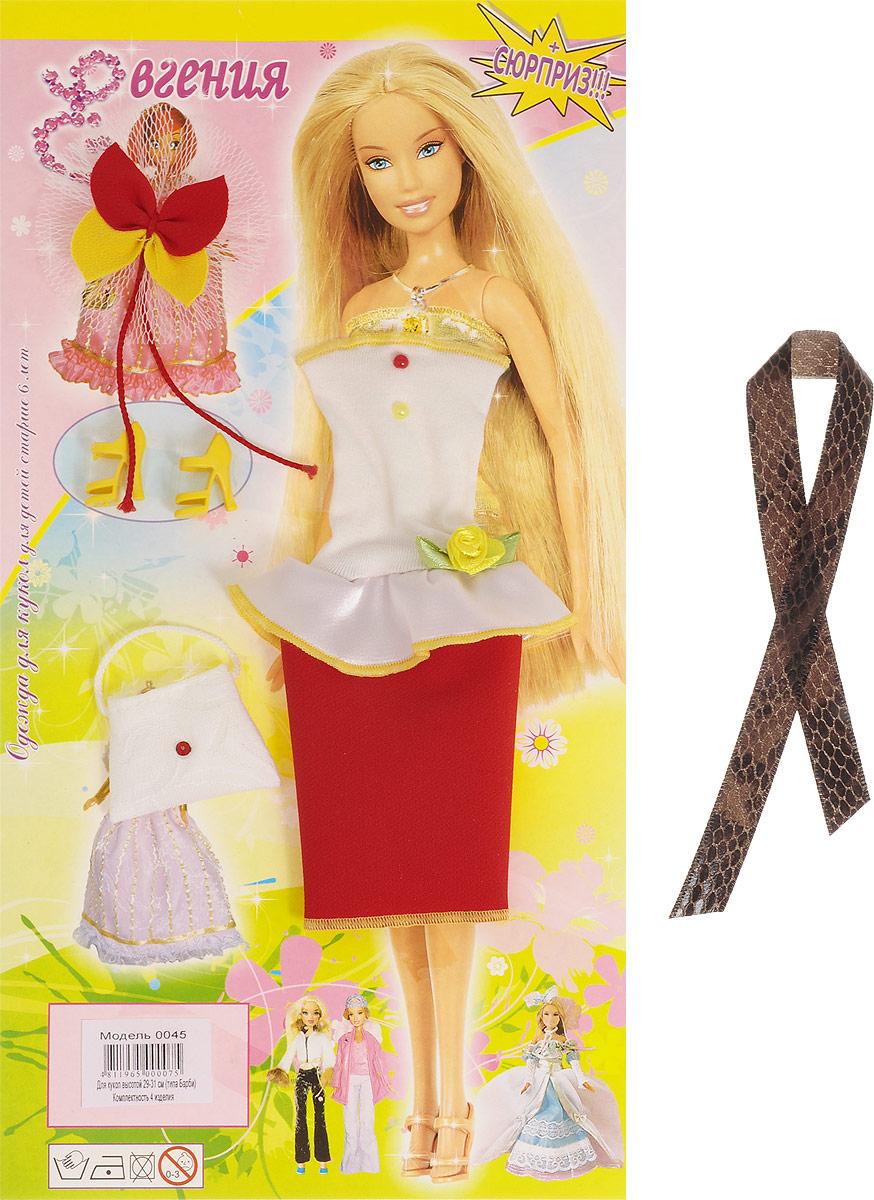 Евгения-Брест Одежда для кукол Платье цвет белый красный 0045_белый, красный