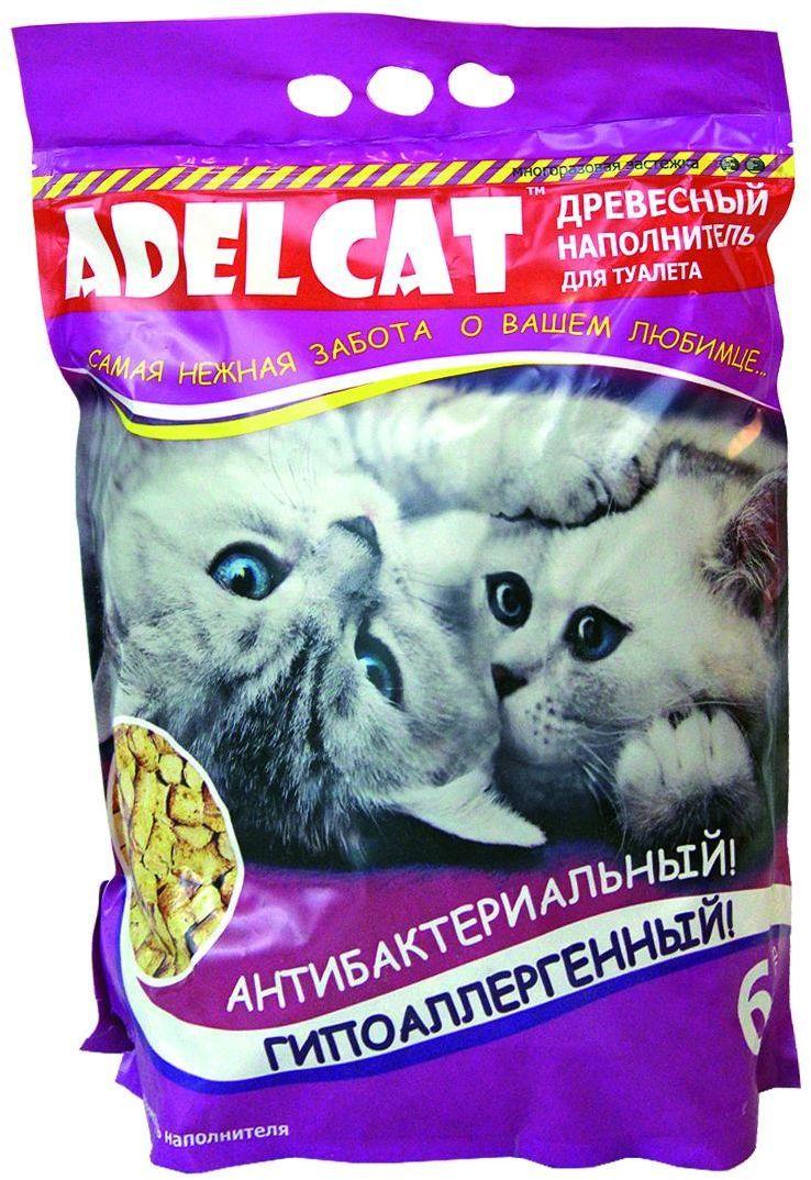 Наполнитель для кошачьего туалета Adel-Cat, древесный, 6 л990137Наполнитель Adel cat древесный 6л