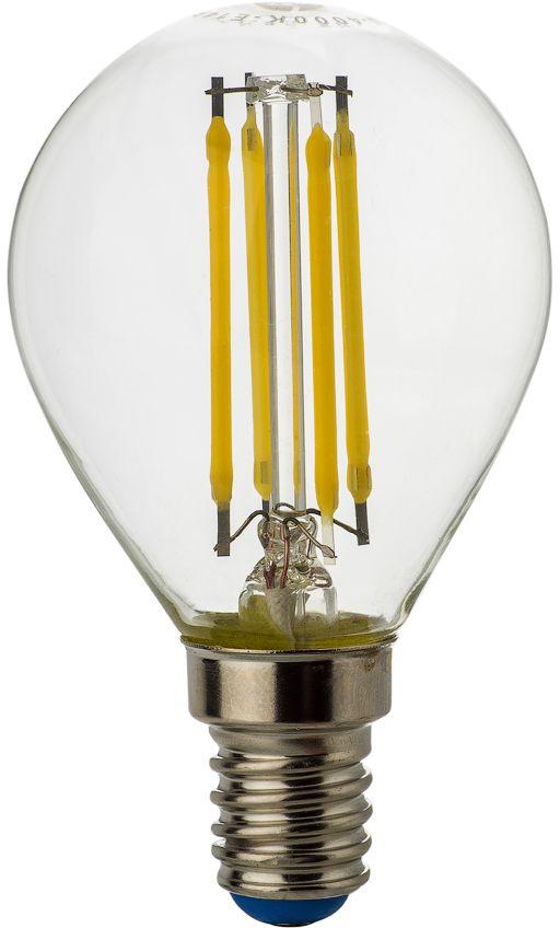 Лампа светодиодная REV Premium Filament, холодный свет, цоколь E14, 5W. 32358 732358 7Энергосберегающая светодиодная лампа шаровидной формы холодного свечения. Потребляемая мощность 5Вт. Интенсивность свечения аналогична обычной лампе накаливания мощностью 40Вт. Цоколь Е14. Срок службы 30000 час. Световой поток 450Лм, цветовая температура 4000К. Гарантия 24 месяца.