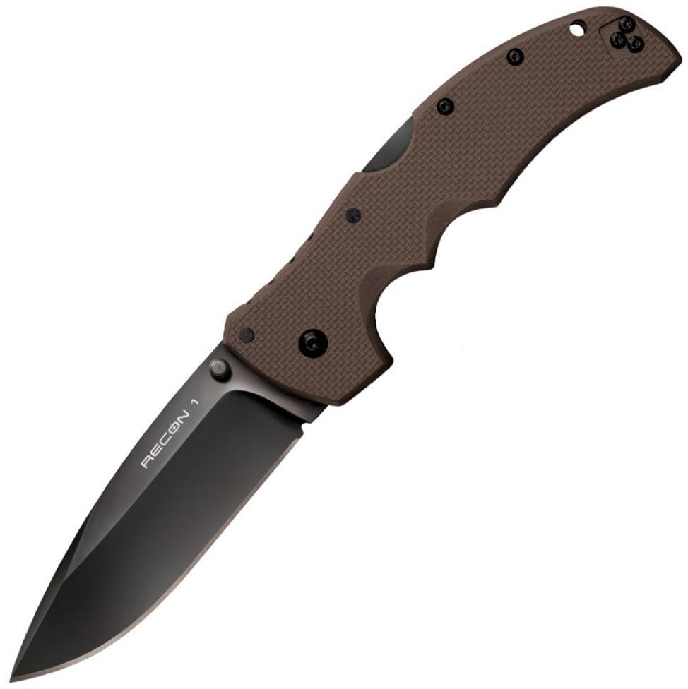 Нож складной Cold Steel Recon 1, с клипсой, цвет: коричневый, длина клинка 10,1 см (4)CS/27TLSVFНож Cold Steel Recon 1складной, клинок spear point, сталь Carpenter CTS, длина клинка 4, рукоять пластик G10, коричневая, клипса Ножи тактического назначения Колд Стил выпускаются сериями, например, как нож Cold Steel Recon 1. Стальные клинки этих складных моделей, отличаются стойкостью к повреждениям и воздействиям. Их долговечность впечатлит своего обладателя. Разновидности этой серии различаются профилем клинка, отличия в размерах незначительны: