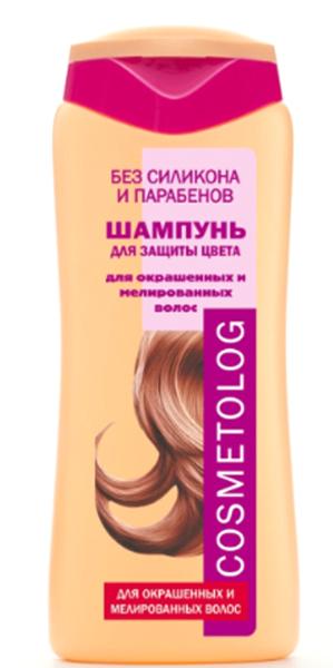 Cosmetolog Шампунь Для Защиты Цвета для окрашенных и мелированных волос, 250 мл360104После окрашивания защитный слой волоса ослабевает и повреждается, из-за этого волосы быстро тускнеют и теряют цвет. Шампунь специально разработан для окрашенных, тонированных и мелированных волос, защищает и усиливает яркость цвета волос, придает им мягкость и сияющий блеск. Деликатная моющая основа тщательно очищает волосы от загрязнений. Формула, обогащенная токоферолом (витамином Е), защищает цвет окрашенных волос от разрушительного действия свободных радикалов, индуцируемых ультрафиолетом солнечного света. Двойной комплекс кондиционирующих агентов и свободные аминокислоты восстанавливают структуру волоса, создают защитный слой по всей длине, блокируют молекулы красителя в структуре волоса, помогая сохранить живой глубокий цвет и блеск. После использования шампуня волосы легко расчесываются, становятся гладкими, блестящими и шелковистыми.