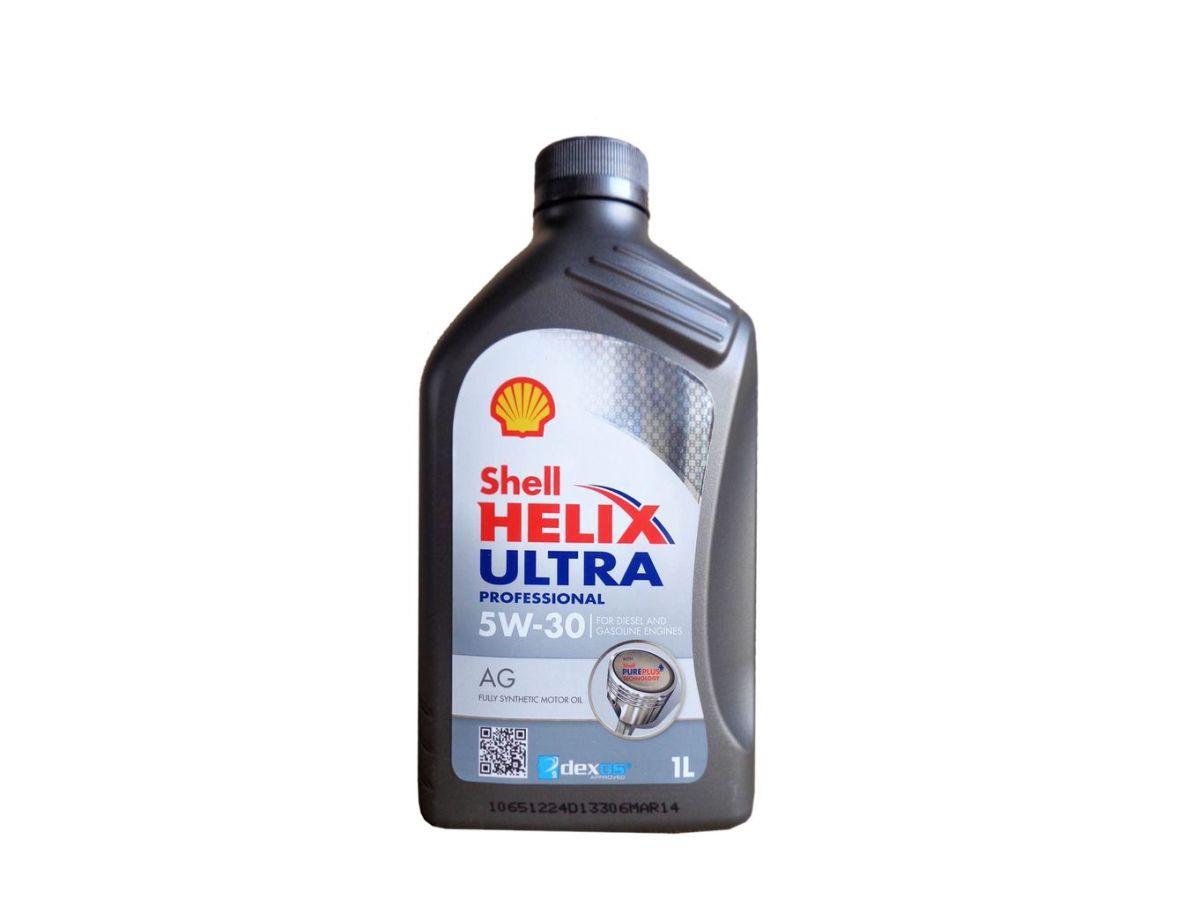 Моторное масло Shell Helix Ultra Professional AG 5w30 синтетика, 1 л550040571Моторное масло на базе синтетических технологий, соответствующее самым строгим требованиям производителей современных силовых агрегатов для легковых авто. Марка AG 5W-30 одобрена к использованию концерном General Motors. Масло прошло различные испытания эксплуатационных качеств, показав превосходные моющие свойства, высокую эффективность, а также устойчивость к сдвиговым нагрузкам, окислению и испаряемости. Кроме того, жидкость обладает отличными низкотемпературными характеристиками, обеспечивает экономию топлива, способствует снижению уровня шума и вибрации в моторе. Продукт соответствует требованиям спецификаций ACEA C3, API SN и GM dexos2.