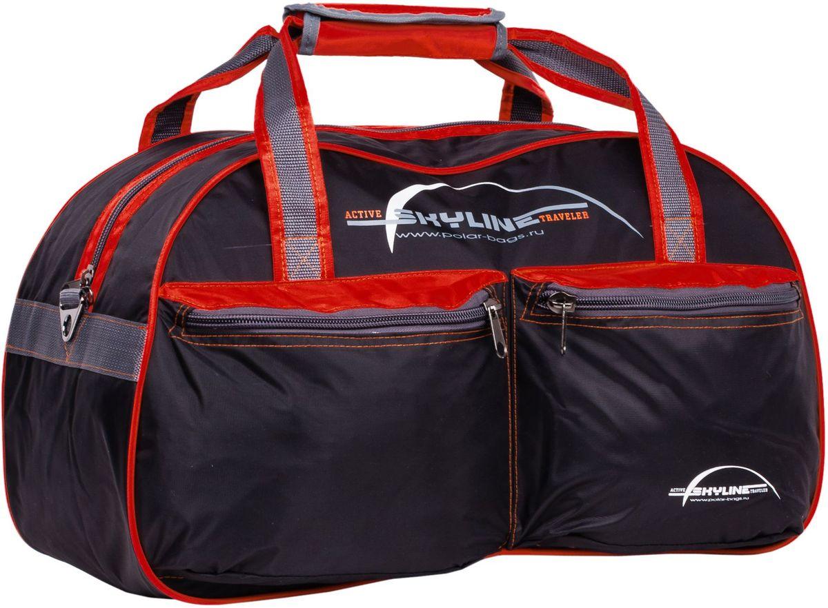 Сумка дорожная Polar Скайлайн, цвет: черный, красный, серый, 53 л, 34 х 54 х 29 см. П05/6П05/6Материал - нейлон с водоотталкивающий пропиткой. Большое отделение для вещей, плюс два кармана спереди сумки. В комплект входит ремешок, для переноски сумки на плече.