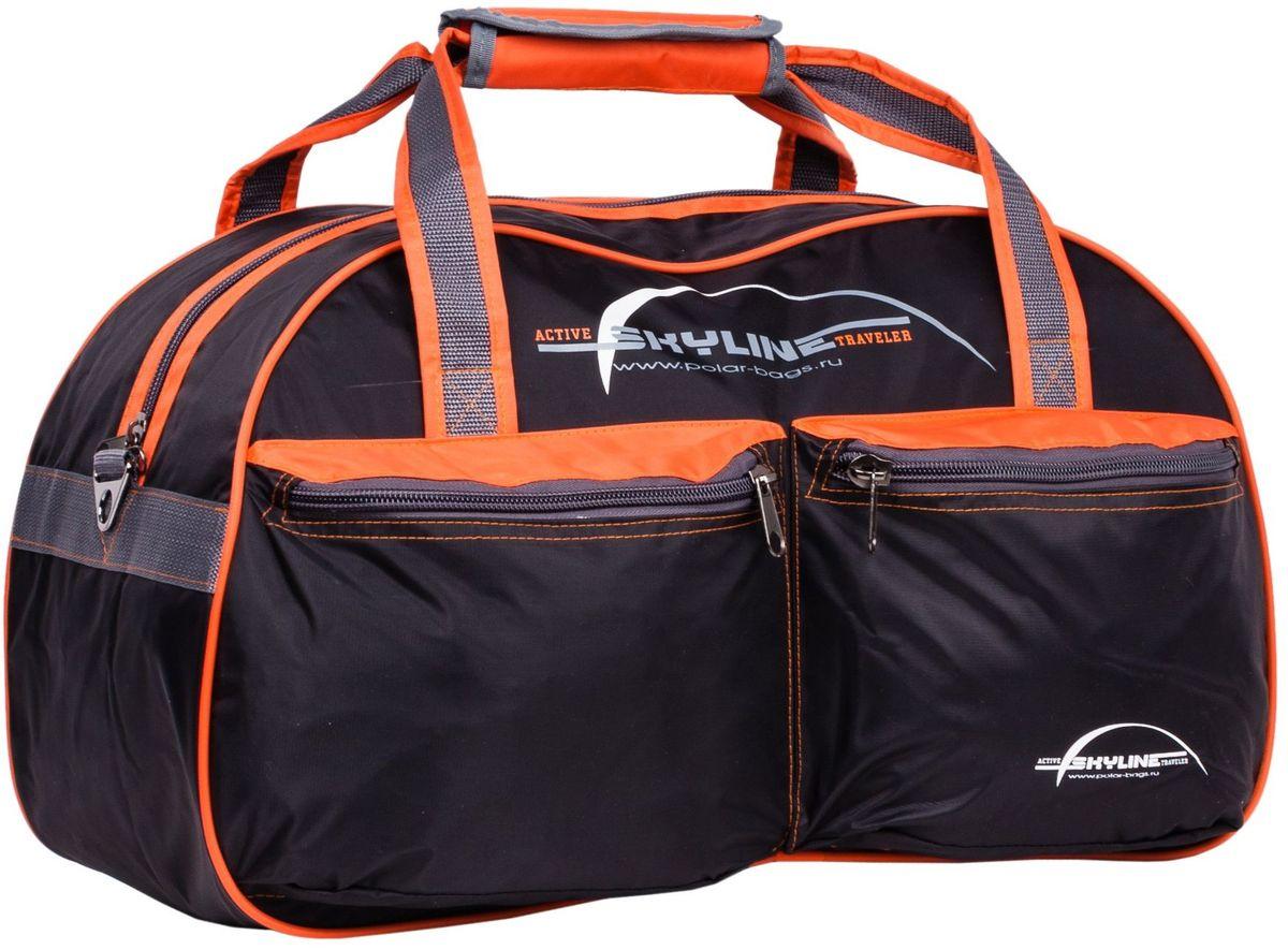 Сумка спортивная Polar Скайлайн, цвет: черный, оранжевый, серый, 53 л. П05/622-0570 SСпортивная сумка Polar Скайлайн выполнена из нейлона с водоотталкивающей пропиткой.Сумка имеет одно большое отделение для вещей. На лицевой стороне расположены карманы на молнии. Изделие оснащено двумя удобными текстильными ручками и съемным плечевым ремнем.