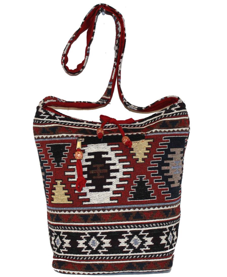 Сумка женская Ethnica, цвет: бордовый, мультиколор. 195250195250Изготавливается из натурального сырья с использованием натуральных красителей.