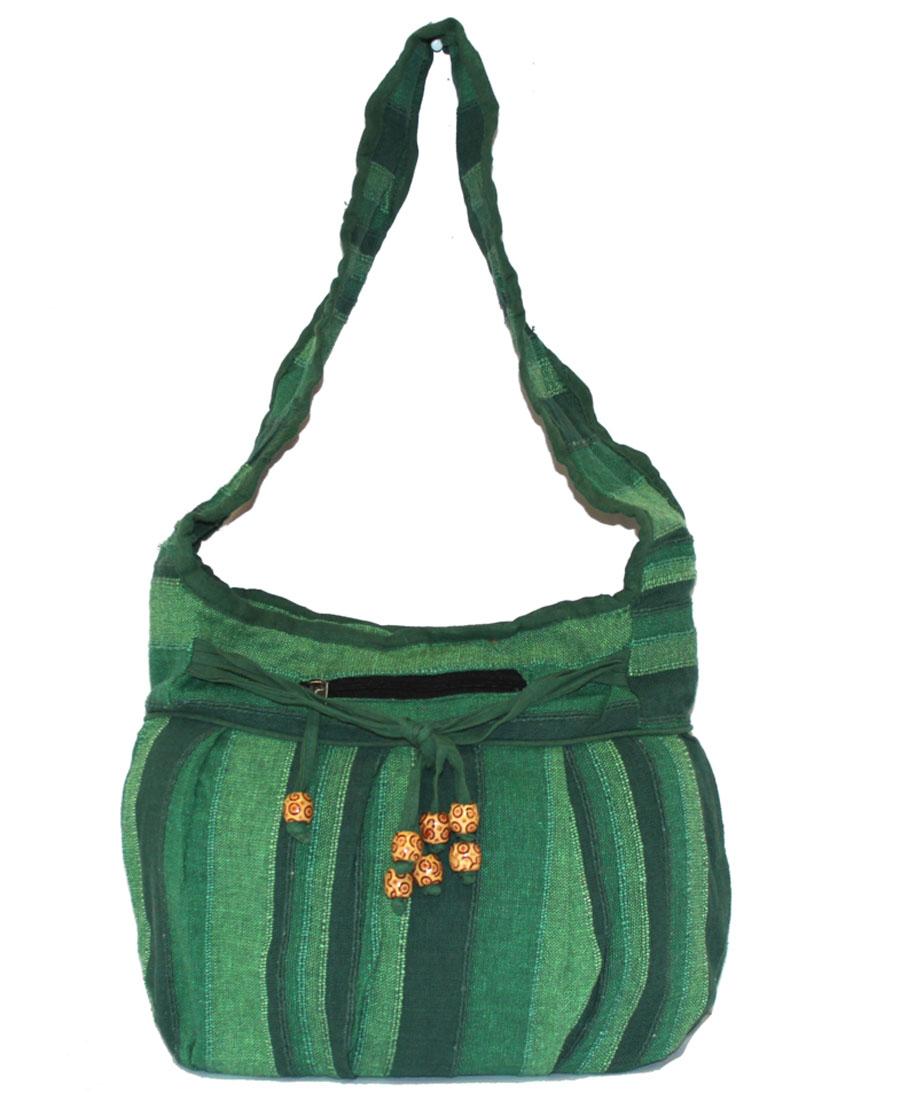 Сумка женская Ethnica, цвет: зеленый. 190150190150Женская сумка Ethnica изготовлена из текстиля. Дополнена модель широкой удобной лямкой и украшена принтом в полоску. Передняя стенка сумки оснащена втачным карманом на молнии. Застегивается изделие на застежку-молнию.