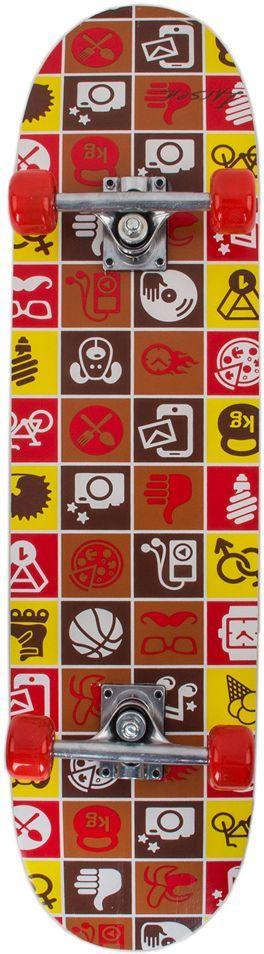 Скейтборд Larsen City 3, цвет: желтый, коричневый, красный, 31х8336054Материал деки: китайский клен, 9 слоев Размер деки: 31х 8 (79 см х 20 см) Материал трака: алюминий Амортизатор: поливинилхлорид Материал колес: поливинилхлорид Размер колес: 50 х 36 мм Подшипник: 608Z Максимальная масса пользователя: 40 кг Размер трака: 5(12,7 см) Тип трака: усиленный