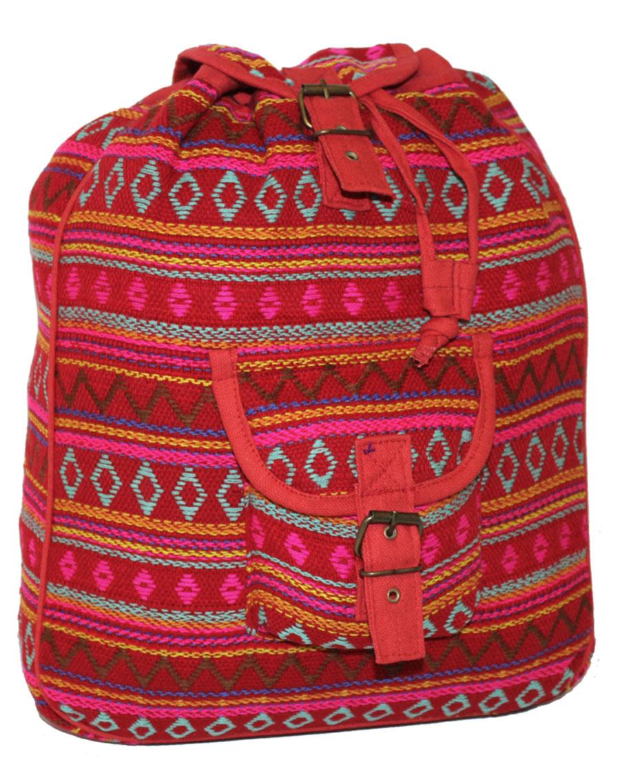 Сумка-рюкзак женская Ethnica, цвет: красный, бирюзовый. 187250RivaCase 8460 blackЖенская сумка-рюкзак Ethnica изготовлена из качественного текстиля. Сумка имеет одно вместительное отделение и застегивается на металлическую пряжку. Внутри имеется основное отделение.Спереди сумка-рюкзак дополнена накладным карманом с клапаном.Сумка оснащена ручкой для переноски и двумя наплечными ремнями.