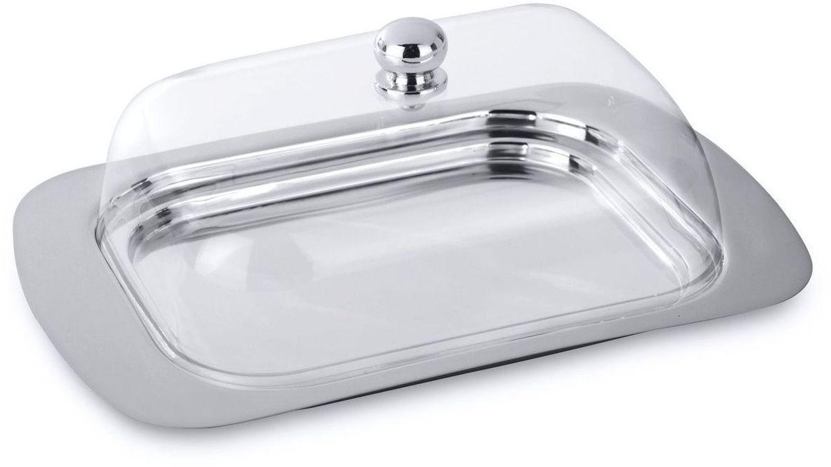 Масленка BergHOFF Straight, цвет: прозрачный, металлик, 18,5 х 12 х 7 смVT-1520(SR)Масленка BergHOFF Straight изготовлена из высококачественной нержавеющей стали. Изделие предназначено для красивой сервировки и хранения масла. Она состоит из подноса и акриловой крышки с ручкой. Масло в ней долго остается свежим, а при хранении в холодильнике не впитывает посторонние запахи.Можно мыть в посудомоечной машине.Размер масленки: 18,5 х 12 х 7 см.
