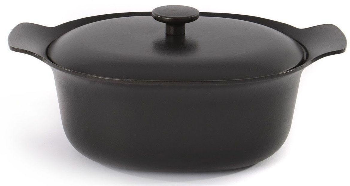 Кастрюля BergHOFF Ron, с крышкой, чугунная, овальная, 5,2 л, 22 х 28 см, цвет: черный. 39000393900039