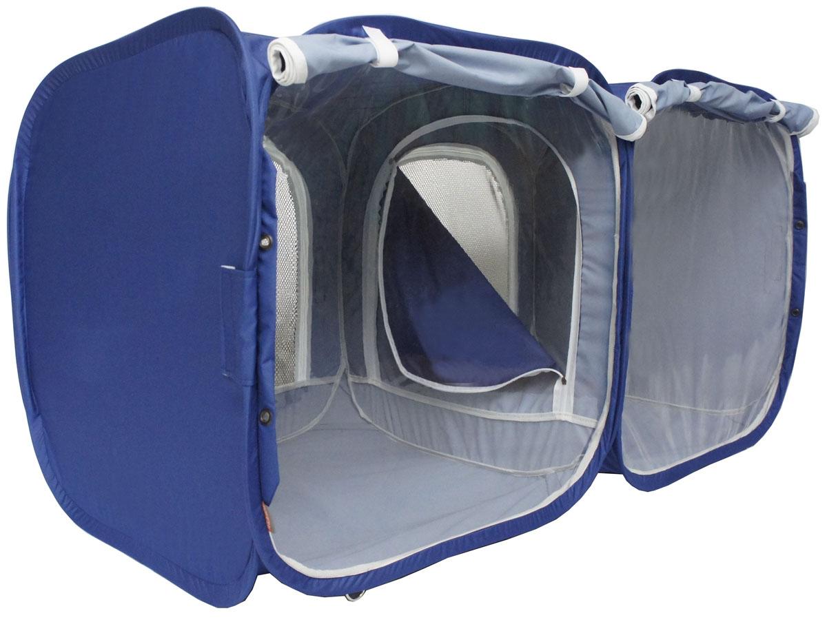 Палатка для выставки животных Шоу-Петс, цвет: синий, 120 х 60 х 60 см. ПВЛ2КПВЛ2СПалатка разработана профессиональными заводчиками для тех, кто хочет перемещаться и выставляться со своими питомцами легко и комфортно: -двойная выставочная палатка для кошек состоит из двух отдельных секций 60х60х60 см, между собой разделены сплошной перегородкой из той же ткани, на молнии, с фиксатором бегунка.; - палатка - клетка подойдет для двух разных животных, которые плохо сидят вместе на выставке в одной палатке - клетке. Для животных, которые хорошо сидят вместе, из такой палатки - клетки можно сделать совершенно комфортное выставочное помещение: в одной комнате находятся животные, а во второй - столовая или туалет ( в зависимости от потребности), при этом у каждой секции имеется собственная шторка, которой она закрывается от нежелательных взглядов.; - при желании, палатку - клетку для выставок можно превратить в односекционную, для этого достаточно сложить в плоскость одну из секций; - в комплекте к палатке идут ремни для крепления к столу, а так же ими удобно фиксировать...
