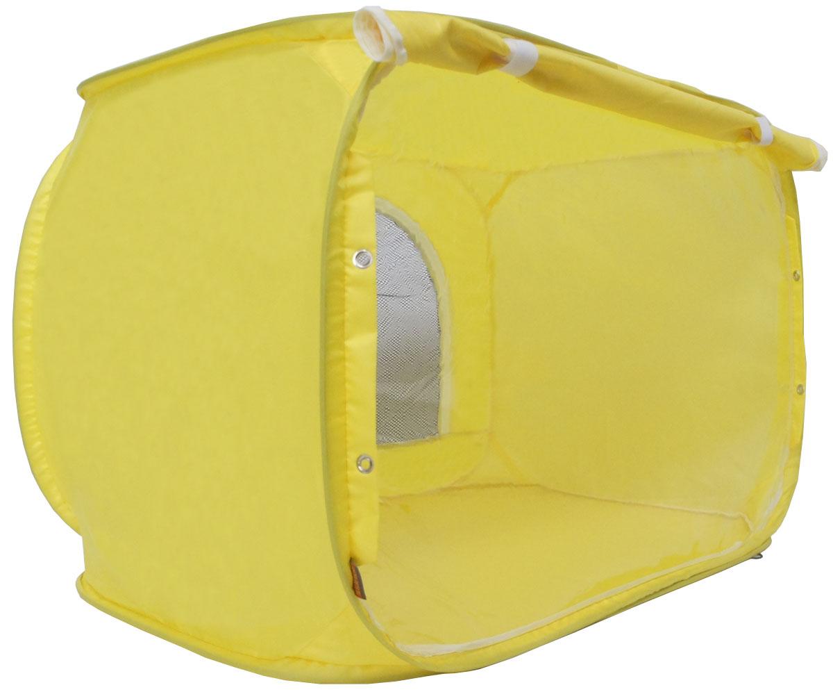 Палатка для выставки животных Шоу-Петс, цвет: желтый, 80 х 60 х 60 см. ПВЛ1.5ЖПВЛ1.5ЖПалатка разработана профессиональными заводчиками для тех, кто хочет перемещаться и выставляться со своими питомцами легко и комфортно: - палатка разворачивается и сворачивается за 30 секунд; - экран палатки выполнен из суперпрозрачной пленки, шторка по желанию может опускаться и полностью закрывать экран от взглядов посетителей выставки; - палатка сворачивается восьмеркой в компактный блинчик и убирается в компрессионный чехол (идет в комплекте); - в комплекте к палатке идут ремни для крепления к столу, а так же ими удобно фиксировать палатку в поезде на верхней полке или в машине; - со стороны заводчика расположен большой удобный вход в палатку на молнии, бегунки молнии фиксируются крепежом, не позволяющим животному самостоятельно открыть вход и выбраться из палатки; - в скрученном виде палатка практически не занимает места в багаже и не ощущается по весу; - данный размер палатки предназначен для комфортного размещения на выставке одного большого животного или нескольких...
